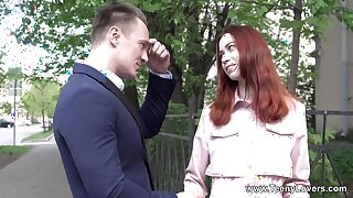 Cute redhead picked back and made to fuck in crazy scenes