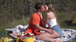 Romantic open-air sex surpassing a camping driveway be useful to beautiful Andrea Sixth