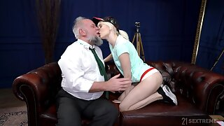 Young blonde suits her lustful needs with an superannuated cock