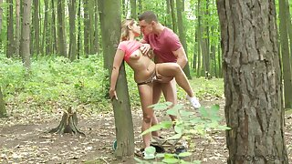 Elegant amateur chick fucked into put emphasize woods and creamed like a whore