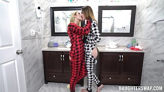 Insolent chicks are sharing their first morning foursome enjoyment from