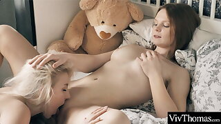 Hot babyhood lick and suck each other's clits before grinding to orgasm