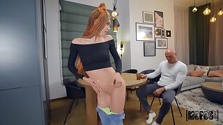 Skinny Mia Bandini shakes her pert ass for baldhead guy
