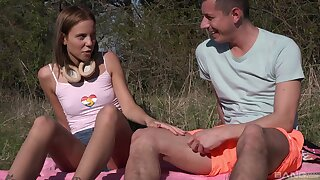 Outdoors fucking with small tits girlfriend Poppy Pleasure