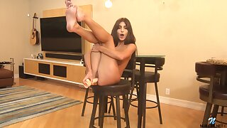 Solo model Dana Wolf moans to the fullest extent a finally riding a fruitful dildo at bottom the floor
